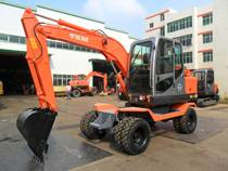 Wide used digger machine small wheel excavator 65W-8