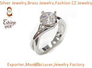 Brass CZ jewelry ring in diamond ring design Wedding Jewelry Ring