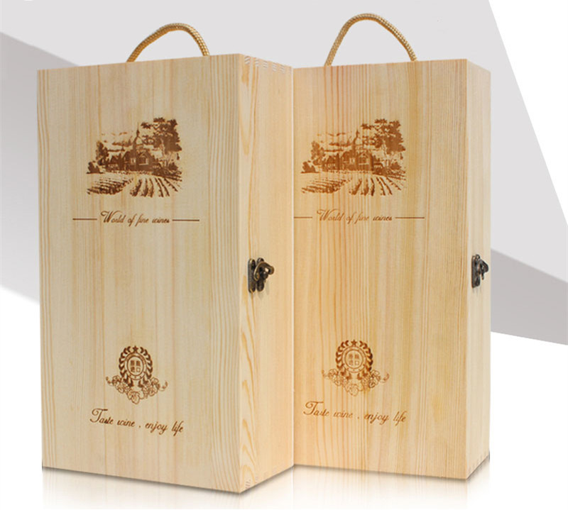 1-3 bottle Russia import pine wooden wine box
