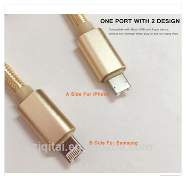 2 IN 1 USB Data Transfe Cable For iphone Samsung