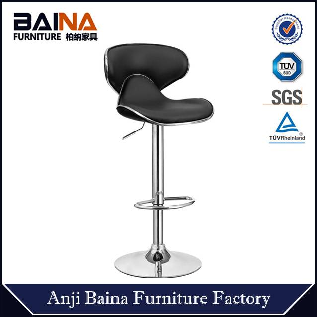 heap faux leather high chair swivel bar stool with metal footrest and base china supplier wholesale