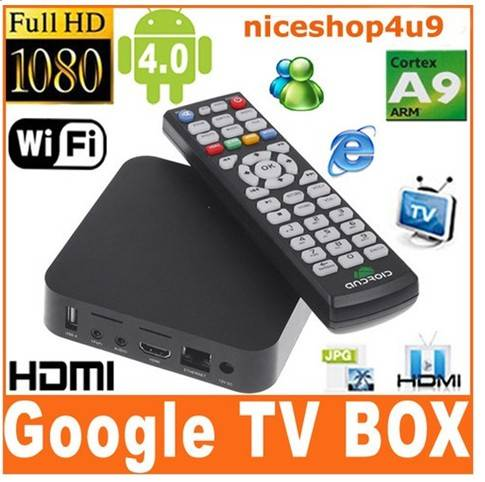 Smart Android 4.0 TV Set Top Box/Cortex A9 1GHz CPU/DDR3 1GB/4GB Nand/Wi-Fi/3D/1080P/HDMI/IR remote
