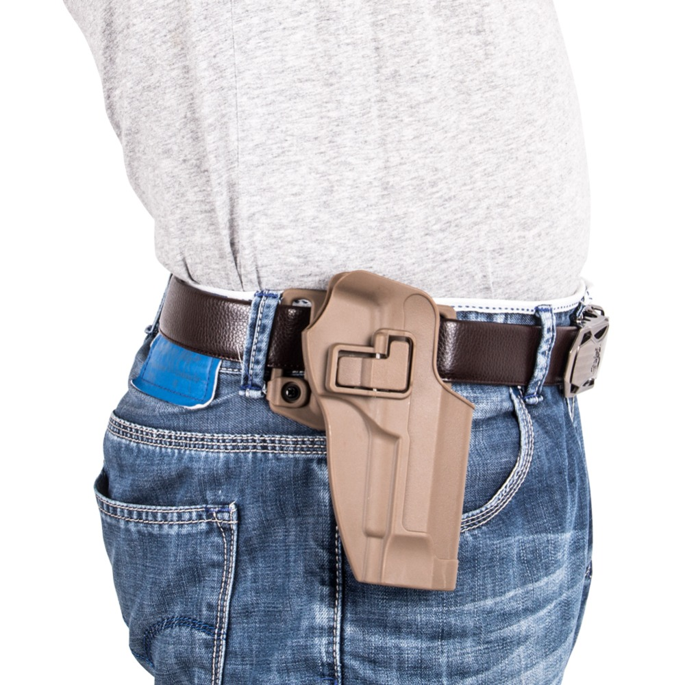 Glock 32 injection polymer pistol holster with one paddle and one belt loop attachment