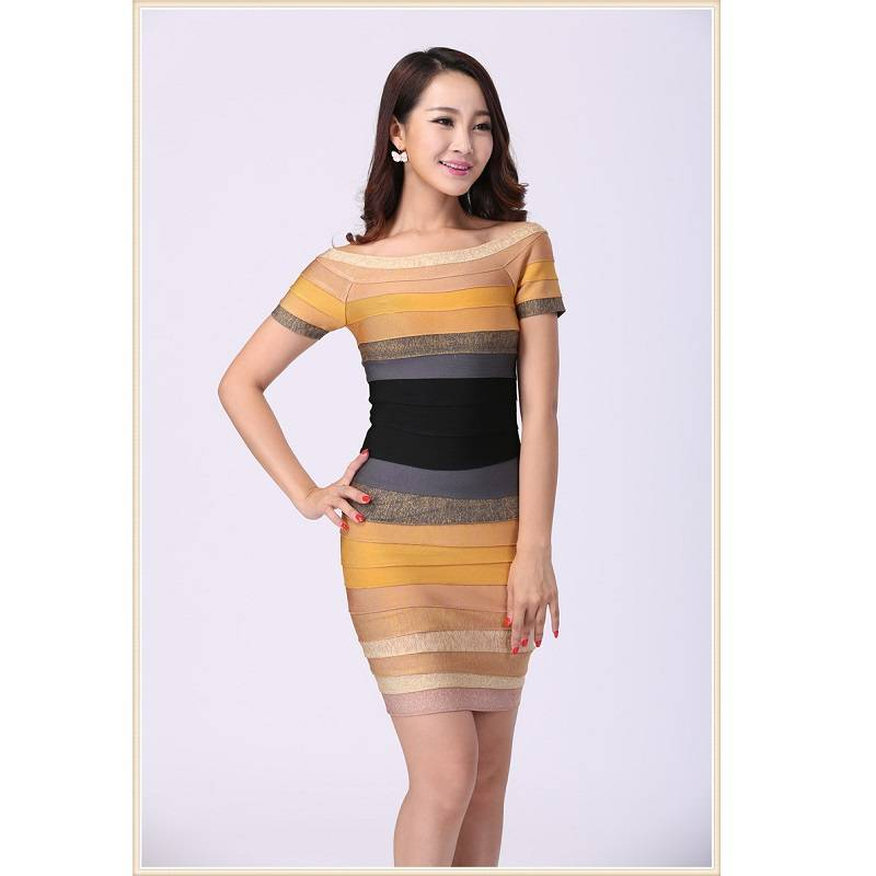 Gradient color off shoulder design sexy lady summer tight dress
