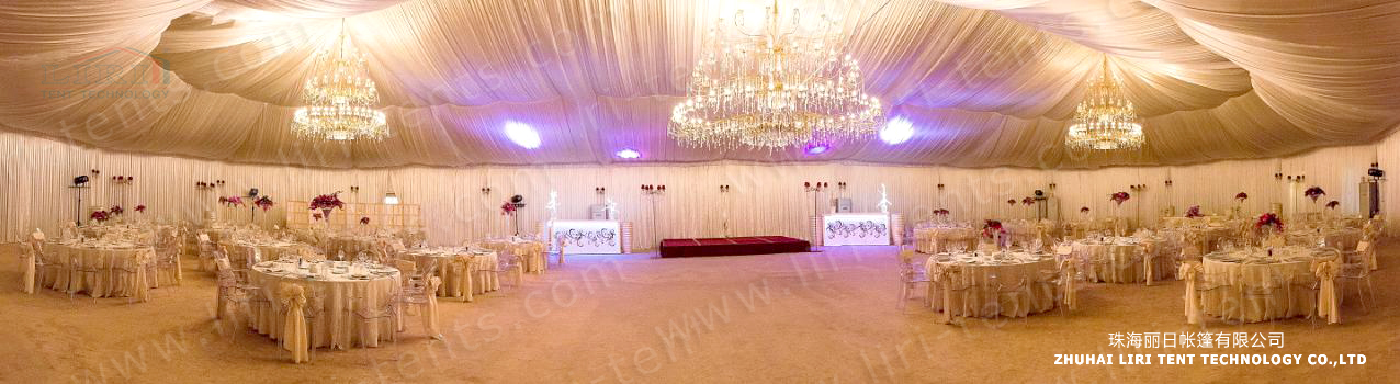 Luxury Wedding Tent with Roof Lining and Curtains for Sale