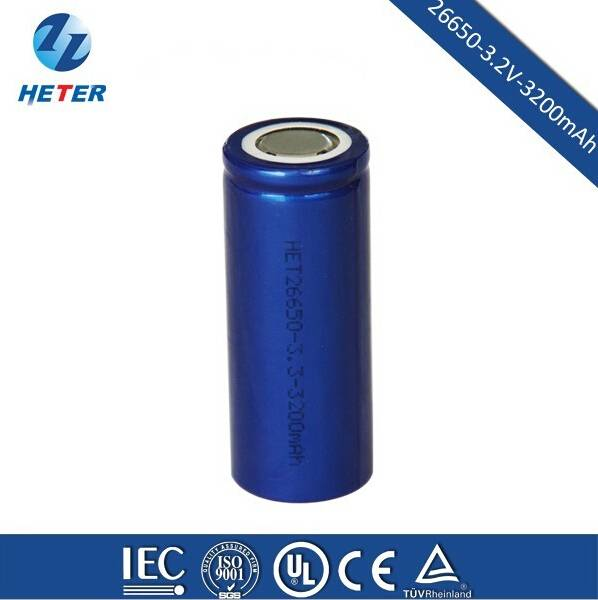 Cylindrical LiFePO4 Rechargeable 26650 Li-ion Battery Cell 3.2V3200mAh