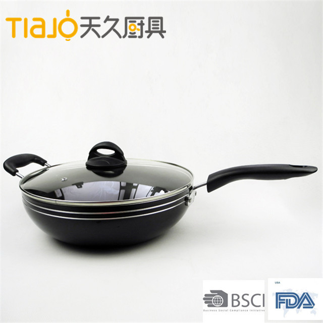good looking green health food aluminum nonstick kitchen appliance cookware/wok pan