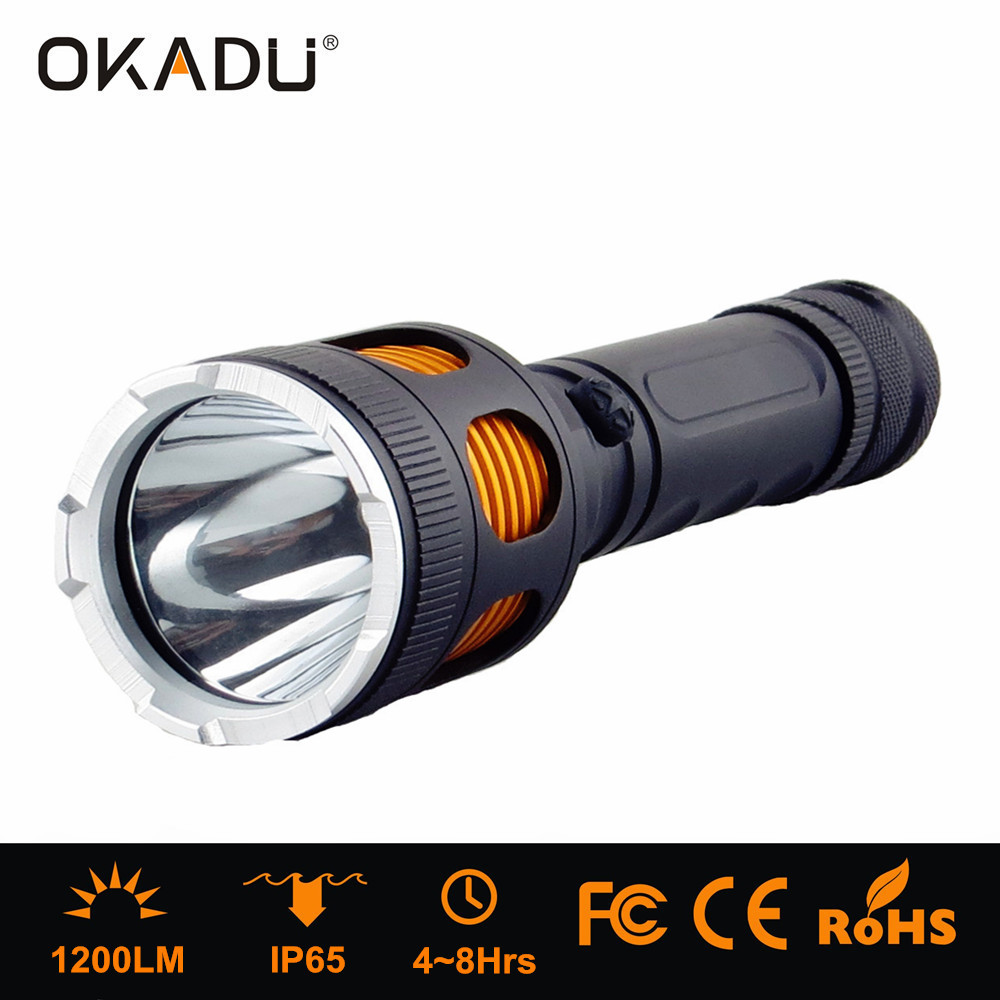 OKADU ST02 Cree XM-L T6 Practical 1200Lumen LED Super Bright Torch With White and Red Night Light