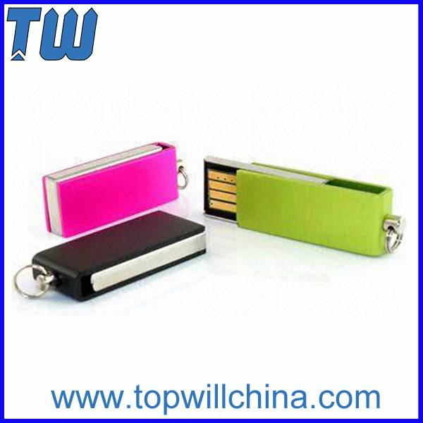 Mini Slim Metal Twister Pen Drive Free Logo