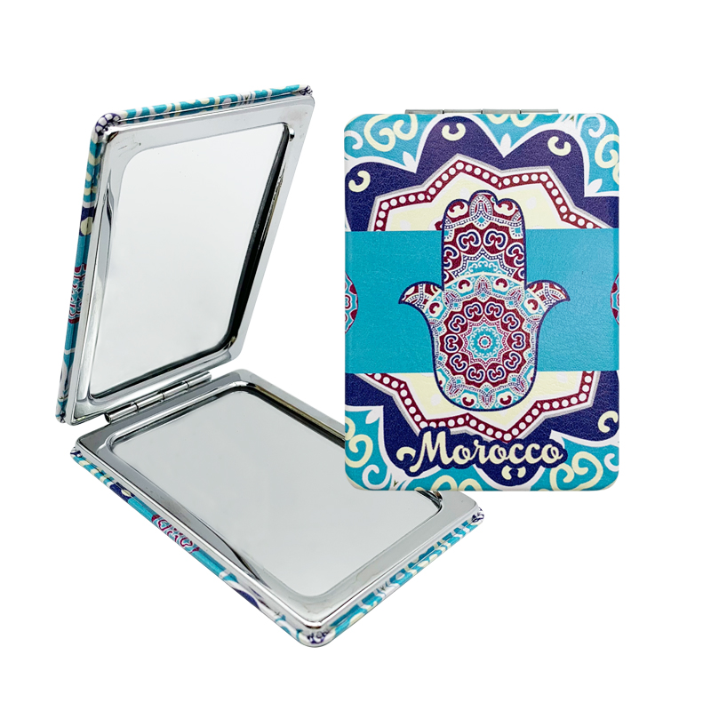 Leather Hand Pocket Mirror Folding Mirror Make-up Mirror for Gifts