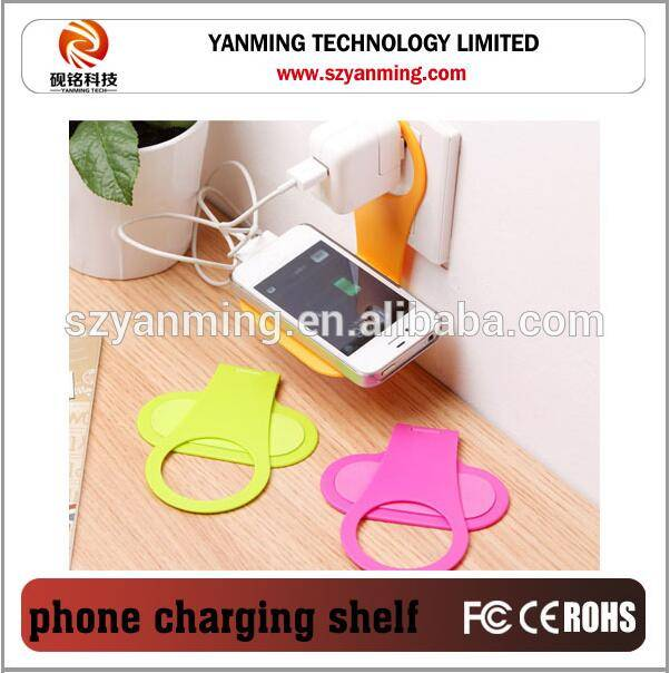 foldable plastic wall holder for mobile phone charging shelf