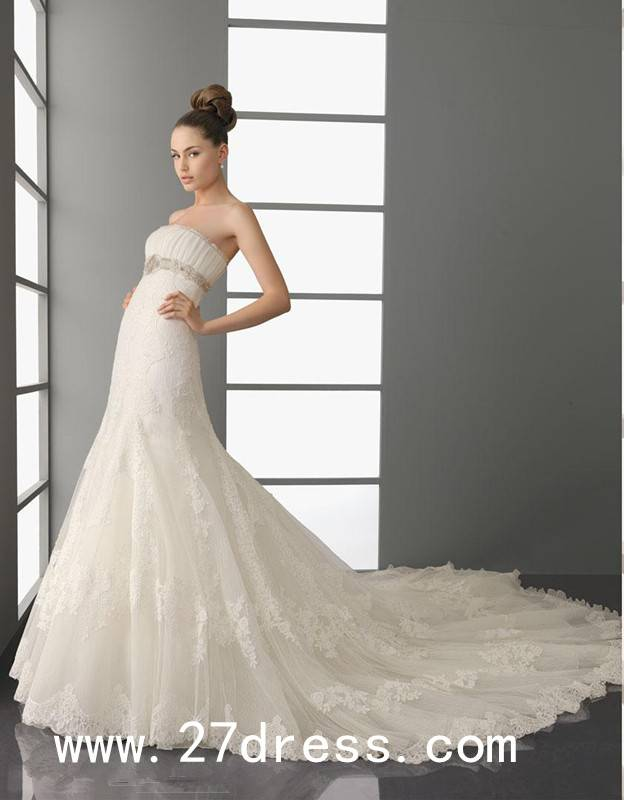 Fantastic A-line Strapless Floor-Length Cathedral Train Wedding Dresses on sale