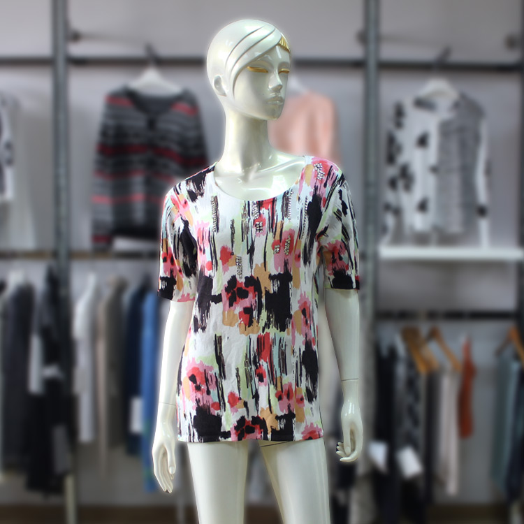 Summer Brush Patterns Design Printing Womens Sweater Short Sleeve Bead Knit T-Shirt
