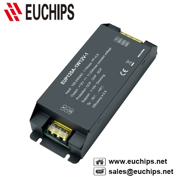 100-240VAC 135W 11.25A 1 channel 1-10V constant voltage led dimmable driver EUP135A-1W12V-1