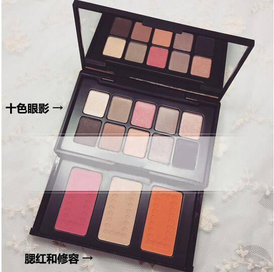 10 Colors Eyeshadow and 3Colors Blush Beauty Makeup Pressed Powder