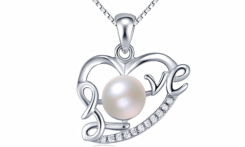 LOVE Heart Shape Pearl Inlay 925 Necklace Pendant