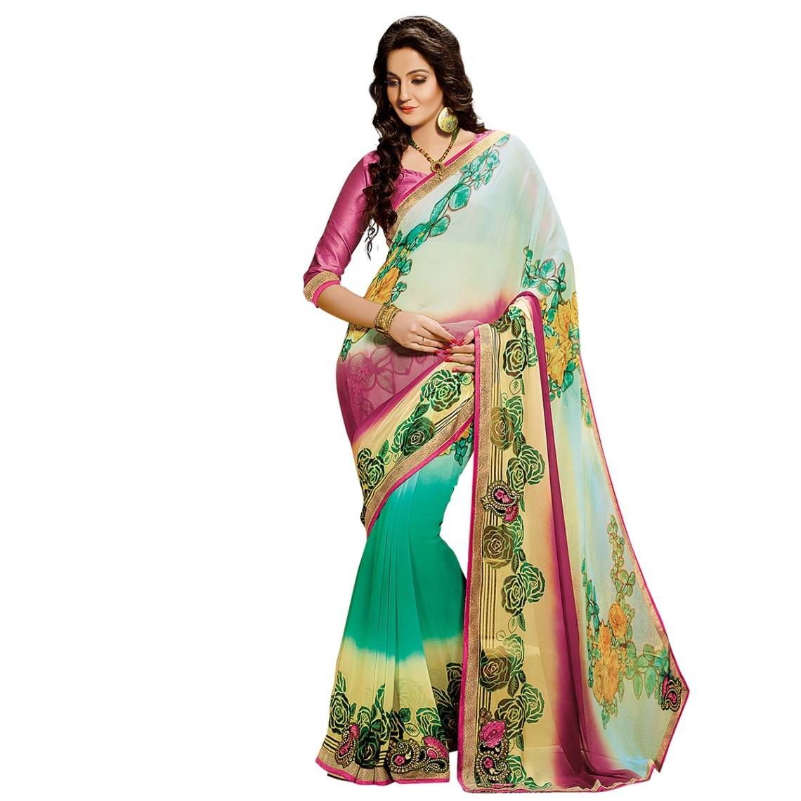 Shonaya Multicolour Georgette Embroidered Sarees With Blouse PieceSGDN2-4862