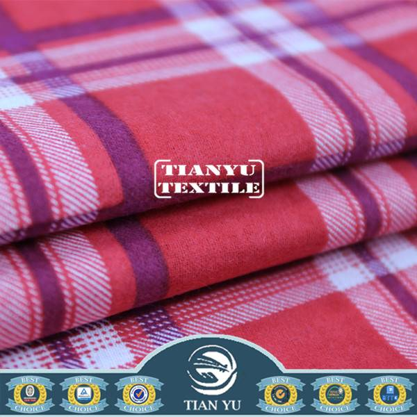 Printed Check Plaid Pattern Cotton Flannel Fabric for Man\' s Shirt