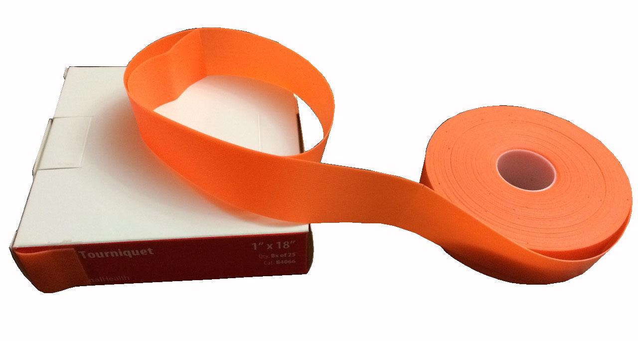 Disposable Tourniquet, Latex Free, Orange, Dot Texture with Paper Core, 1''x18'' x 25pcs