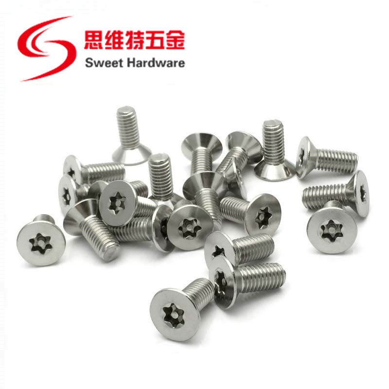 SS304 stainless steel countersunk head pin-in torx anti-theft CNC machine screw
