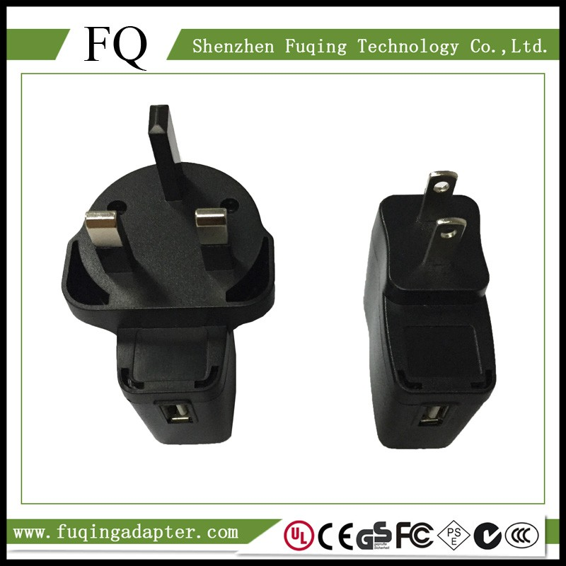 ABS Material Three pin Plug Adapter CE FCC 5V 1A USB Charger Adapter