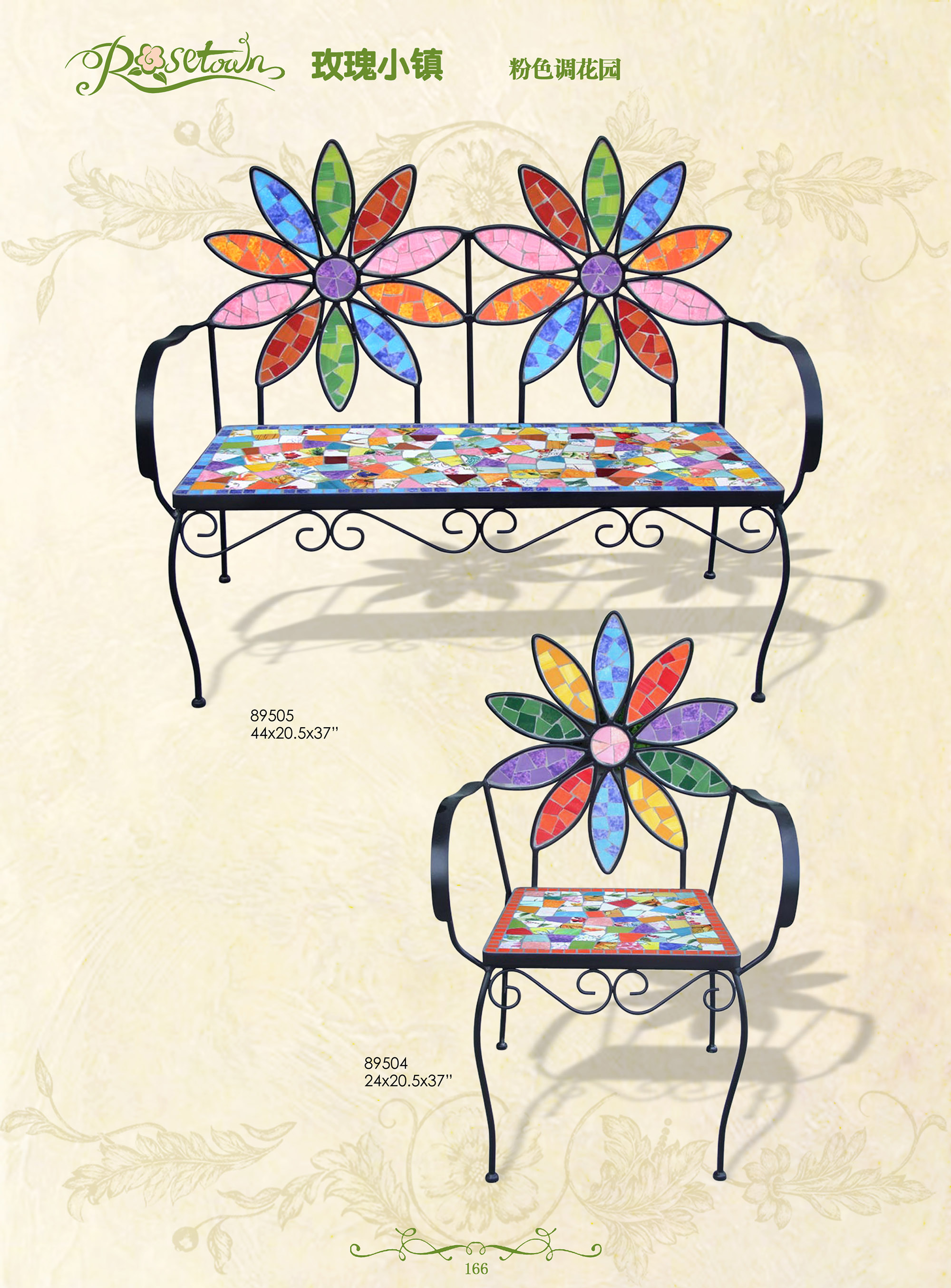 Hand Draw Colorful Ceramic Wrought Iron Big Lots Patio Outdoor Beach Chair