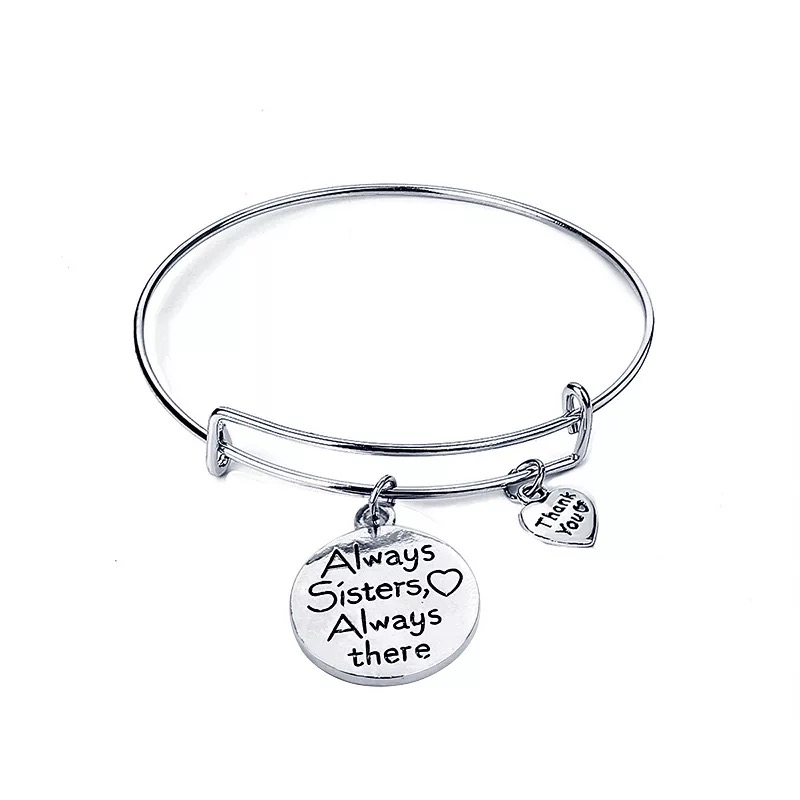 Aways Sisters and Aways There Charm Adjustable Bracelet for Friendship