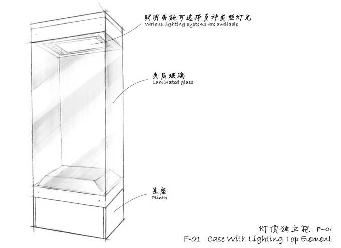 Museum Free standing display cases - Case With Lighting Top Element