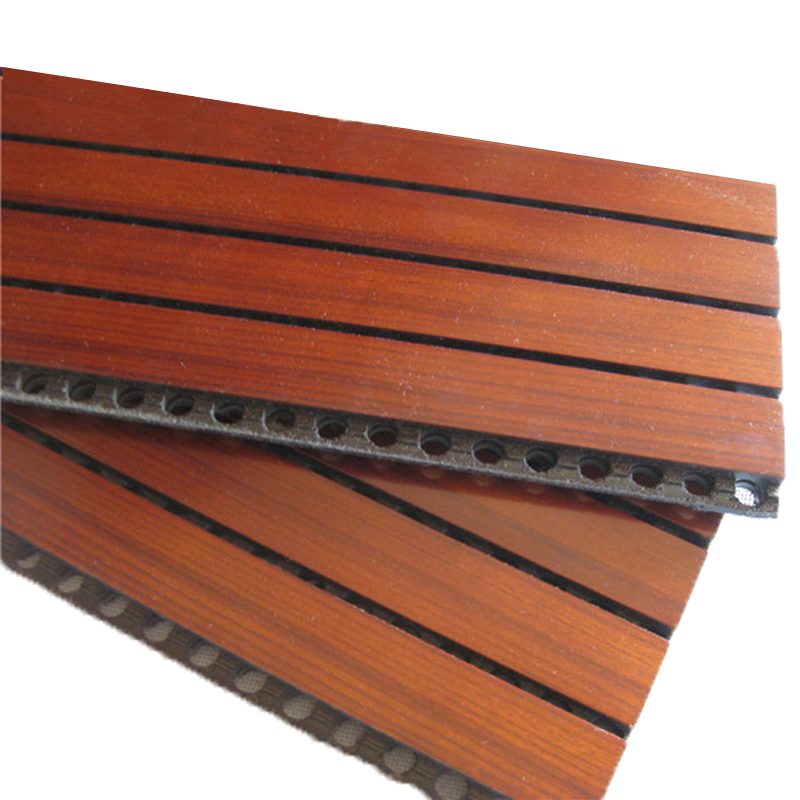 Fireproof Veneer Ceiling Sound Absorbing Wall Board Cinema Wood Grooved Acoustic Sound Panels