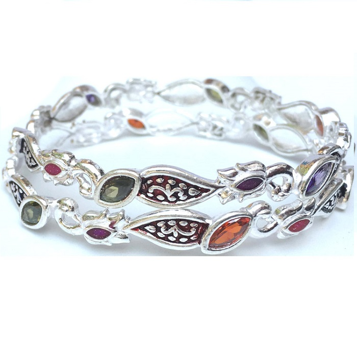 gemstone silver bangle
