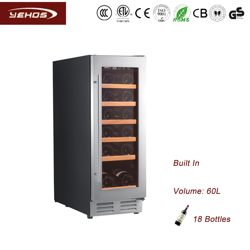 YEHOS 18 Bottles built-under compressor wine cooler with seamless fram