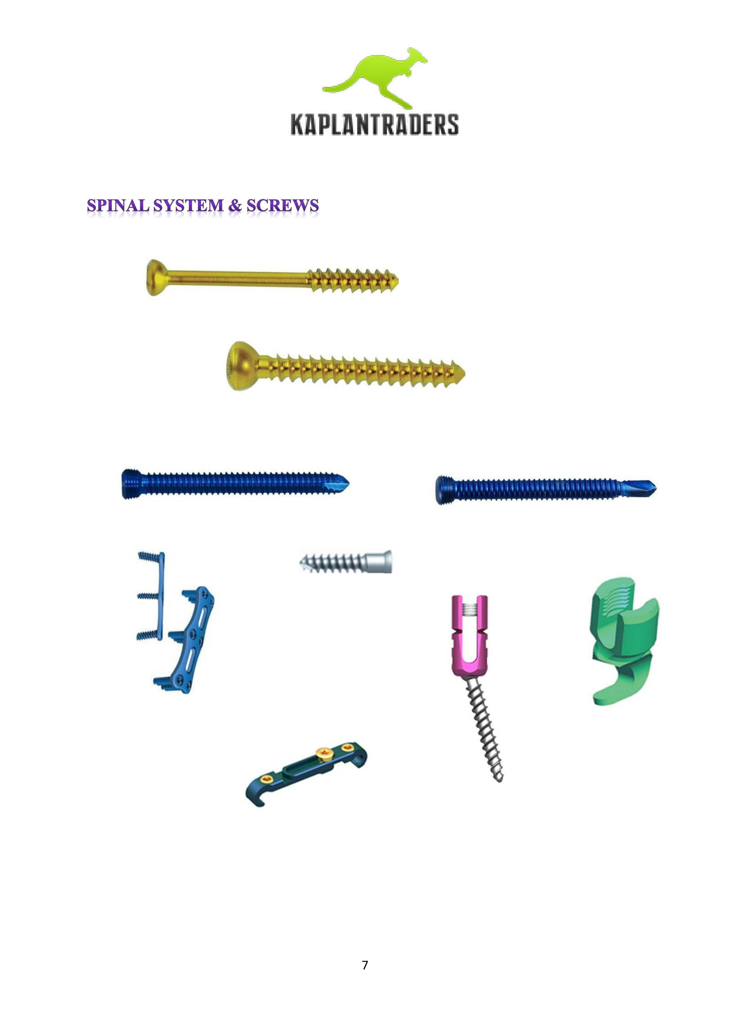 SPINE SYSTEMS AND SCREWS