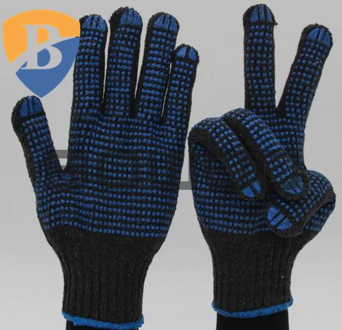 Hot sale black cotton with double pvc dots safety work glove