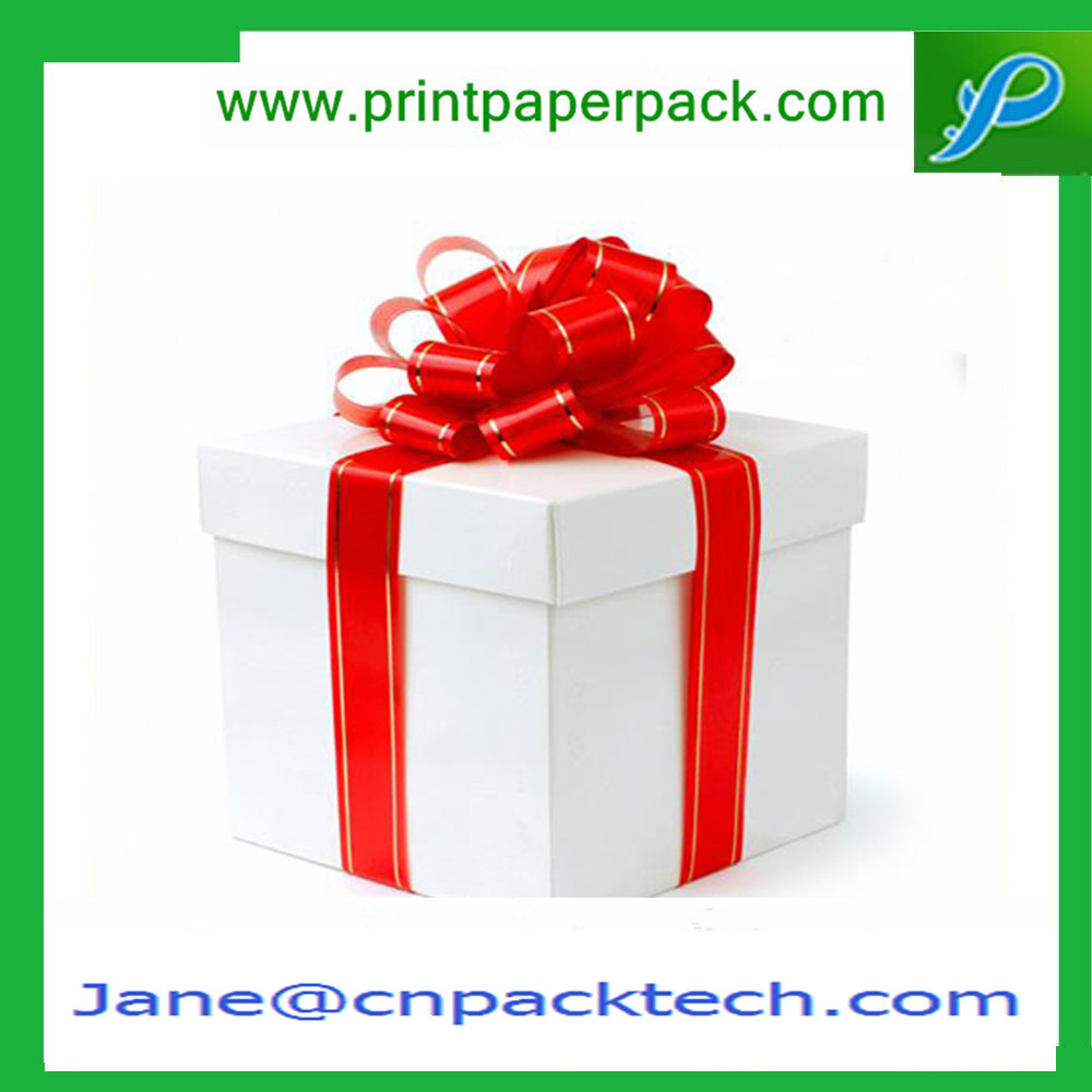 Custom Ribbon Gift Boxes Lid and Base Boxes Paper Gift Packaging Box