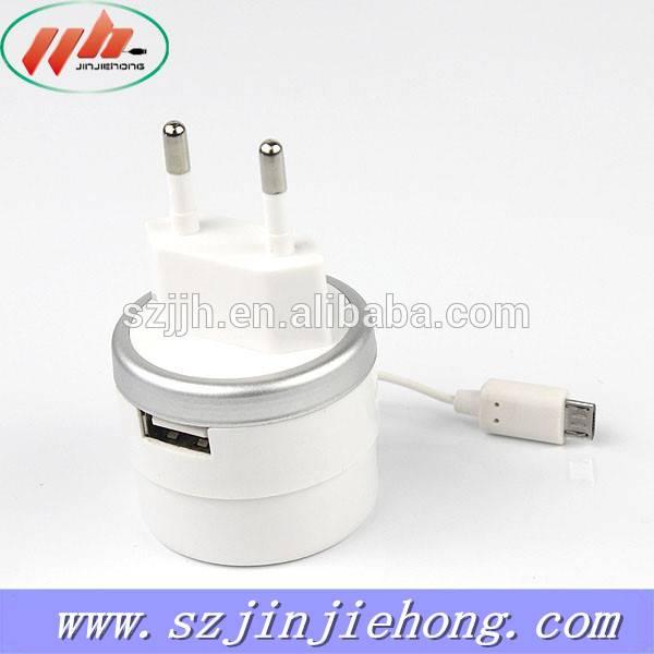 5V 1A reasonable price Single usb port travel charger cable US/EU plug