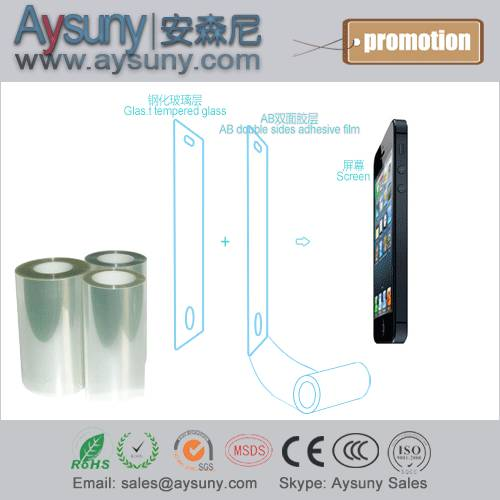 AB double side adhesive PET protective film roll for toughened glass