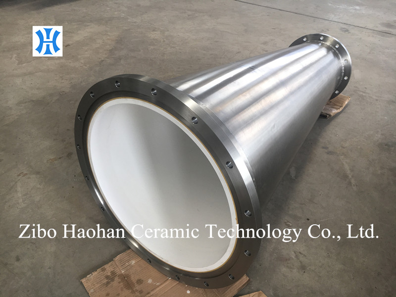 Alumina ceramic lined stainless steel cone shaped tube pipe for high consistency pulp cleaner