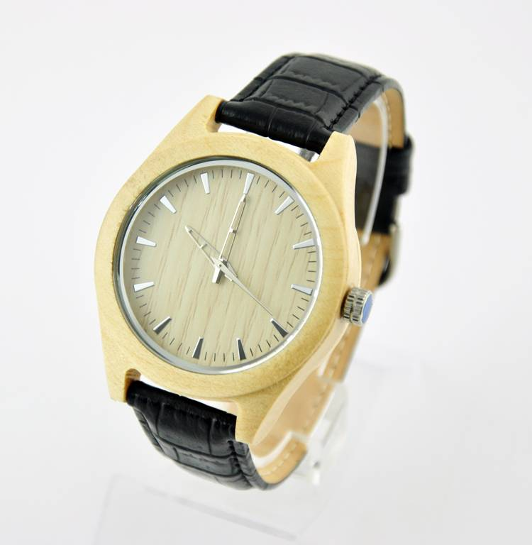High Quality New Design Wood Material Leather Watch