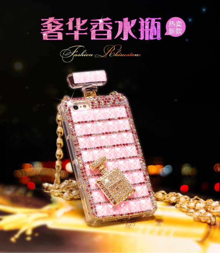 Bling Diamond Perfume Bottle Case for iPhone Samsung S6 Silicone TPU Bling Crystal Mobile Phone Cove
