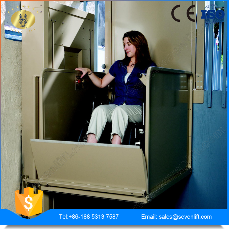 7LSJW Shandong SevenLift stainless steel hydraulic outdoor manual vertical wheelchair lift