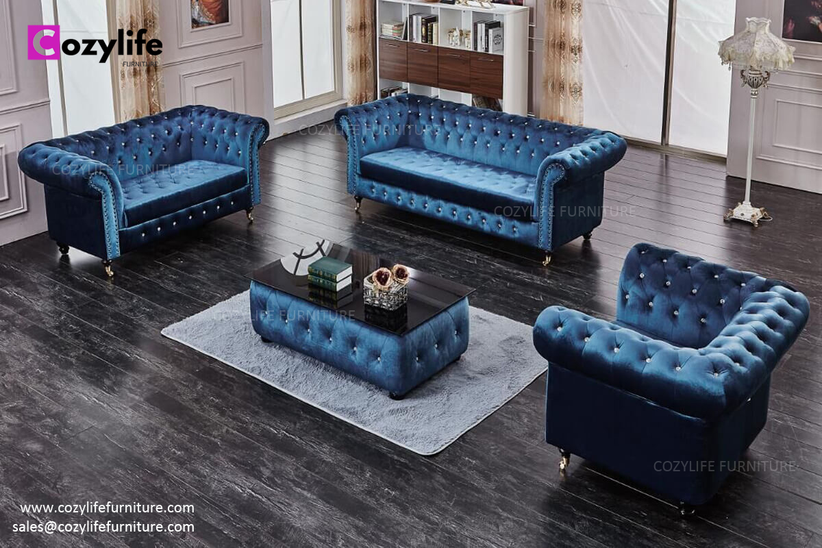 UK hot sale blue velvet chesterfield sofa