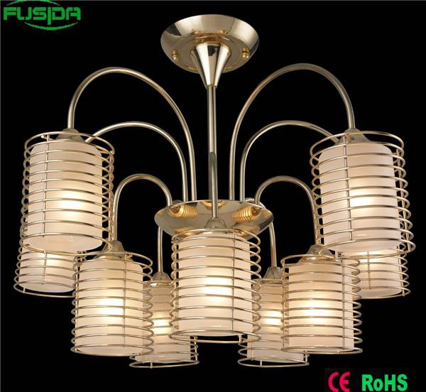 Wholesales wrought iron glass white chandelier lighting for home/hotel/restaurant