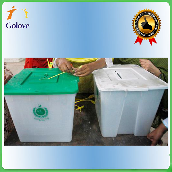 Transparent plastic ballot box