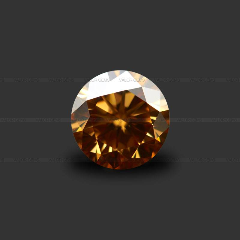 Dark Yellow Round 8H&8A Moissanite