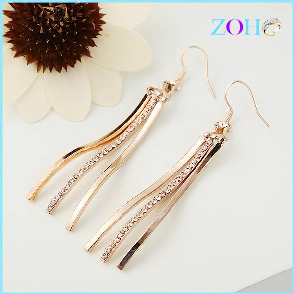 Hot sale girls design gold tassel earrings rhinestone earrings