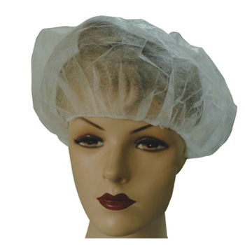 "21"" PP White Hair Cover Disposable Bouffant Cap"