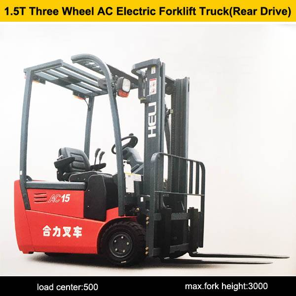 1.5 ton three wheel AC electric forklift truck