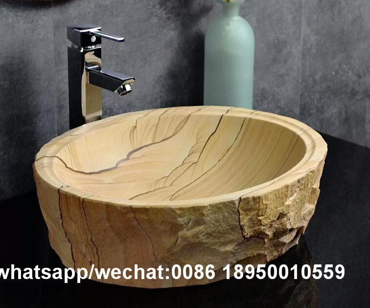 Yellow Sandstone Round Bathroom Sink Stone Wash Basin