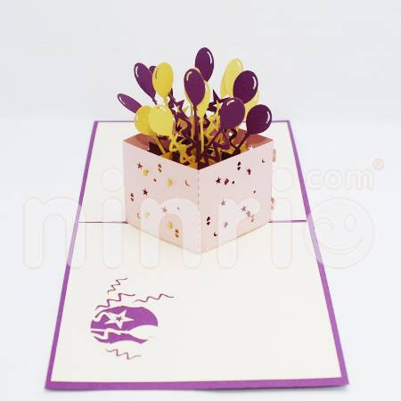 Balloons box Pop Up Card Handmade Greeting Card