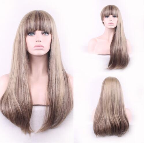 100% human hair full lace wig with bangs silky straight remy hair